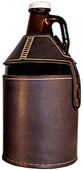Black Leather Growler Cover Beer Gift