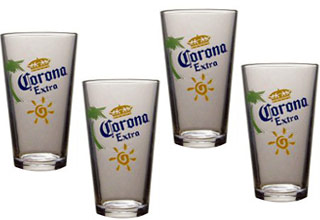 Corona extra pub glasses gift 4 pack for How to make corona glasses