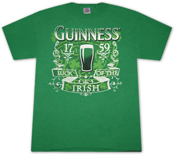 Guinness Green Luck Of The Irish T Shirt