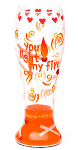 Light My Fire Hand painted Pilsner Glass
