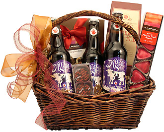 Romantic Chocolates and Beer Gift Basket