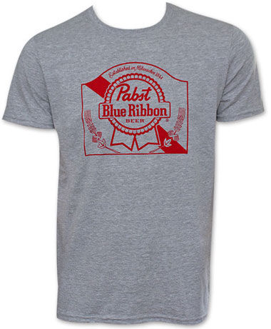 Pabst Blue Ribbon Heather Gray Arch Logo T Shirt