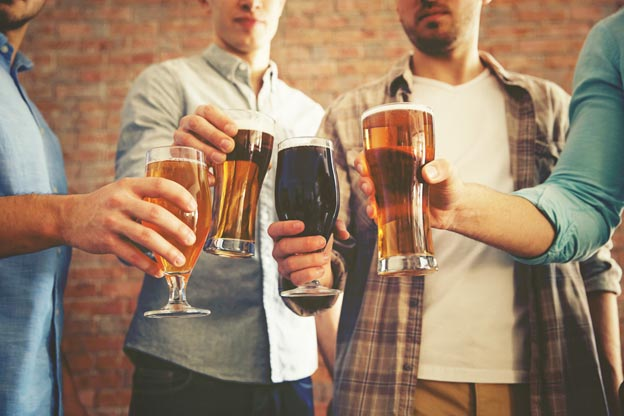Four Guys with Beer Glasses Image